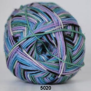 Strømpegarn - Hjertegarn - Aloa - fv 5020 Flerfarvet