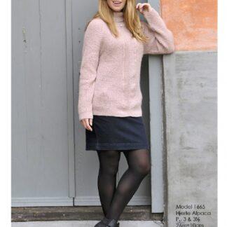Sweater med sildebensmønster strikkeopskrift nr 1665