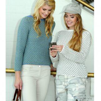 To farvet sweater strikkeopskrift nr 1616
