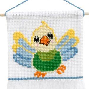 Broderi - Tælle broderi til børn - 13-9723 med Fugl